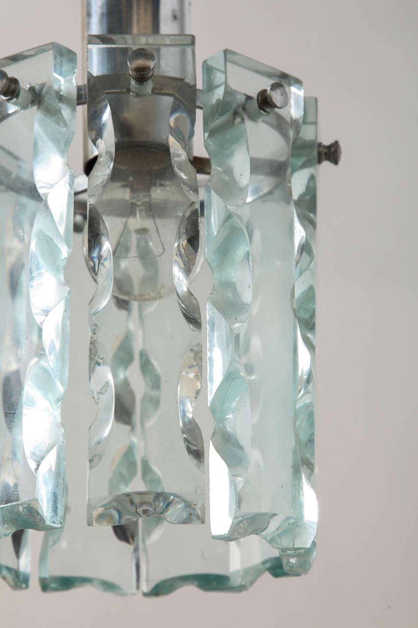 Italian Crystal Pendant in Style of Fontana Arte For Sale