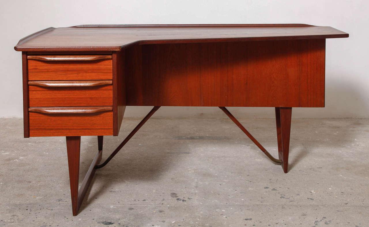 Peter Lovig Nielsen Boomerang Danish Modern Teak Desk 2