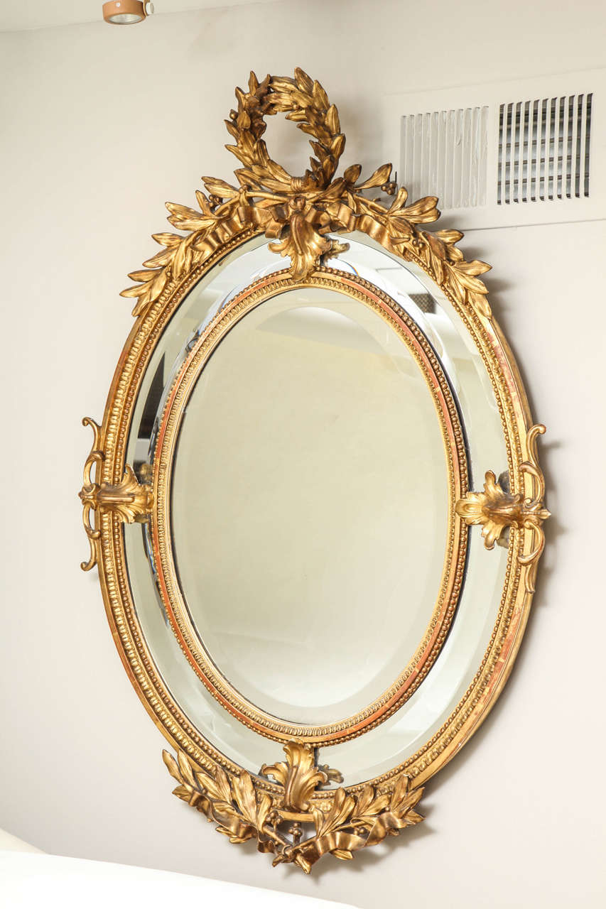 Oval French Empire Style Giltwood Mirror At 1stdibs