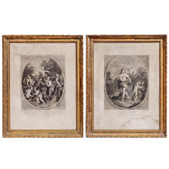 18th Century French Angels Prints with Coeval Gilded Frames