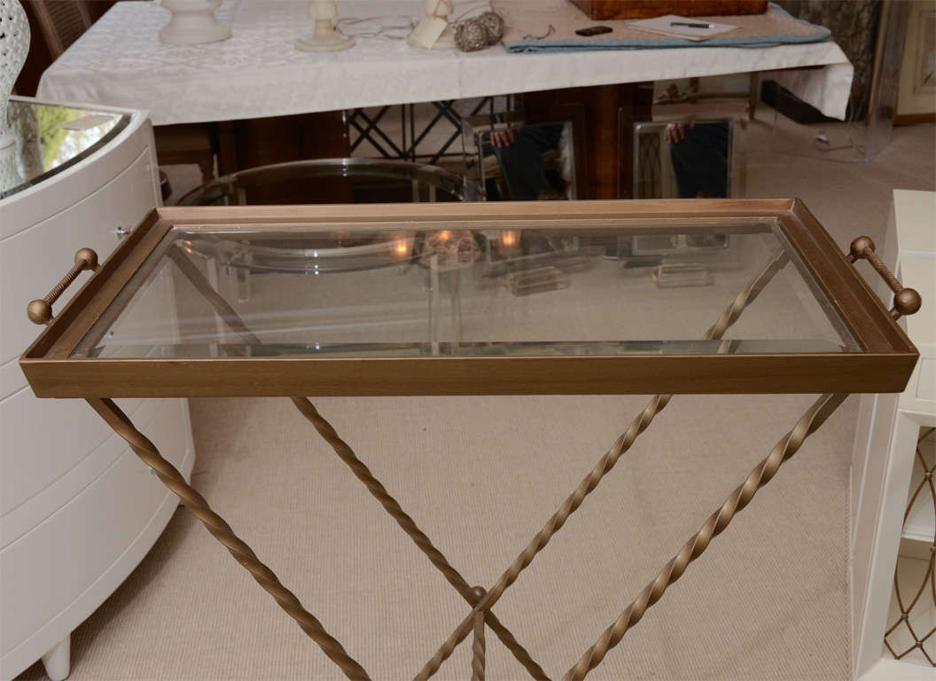 Beveled Glass Bar Tray with Gilt Metal Base For Sale at ...