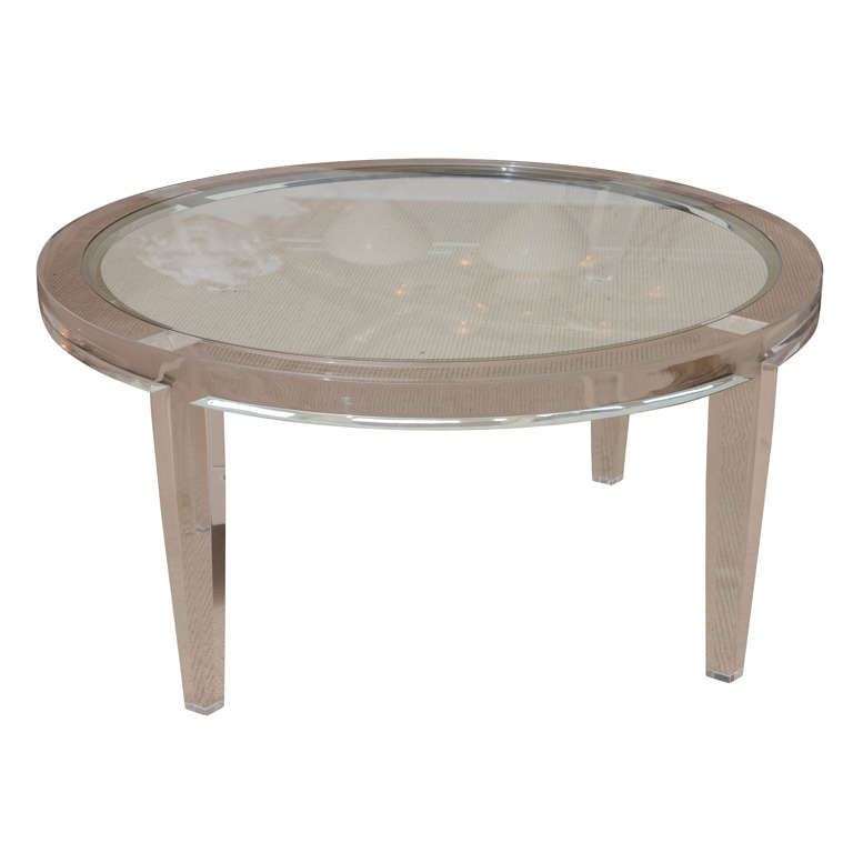 Round Lucite Cocktail Table With Inset Glass At 1stdibs