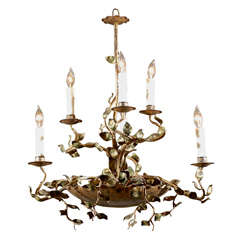 Spanish Six-Light Organic Metal Chandelier with Laurel Leaves and Branches