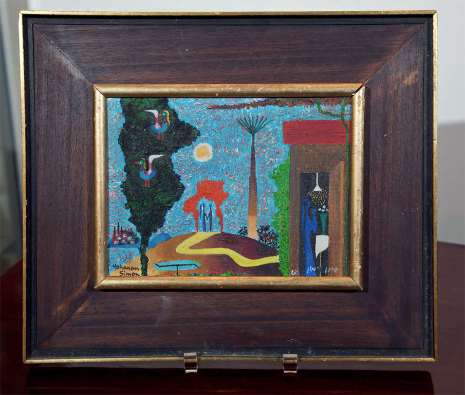 An oil on board by Israeli artist, Yohanan Simon, depicting figures at the altar and birds in a tree.  In its original frame.
