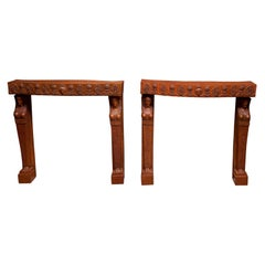 Pair Egyptian Revival Terra Cotta Console Tables