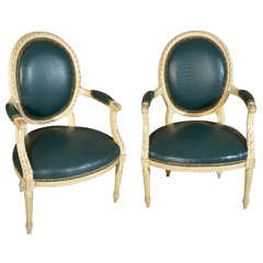 Louis XVI Style Painted Fauteuil Arm Chairs