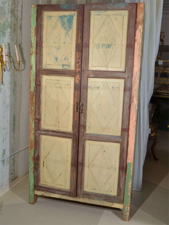 20th Century Mexican Painted 2-door Country Cupboard For Sale
