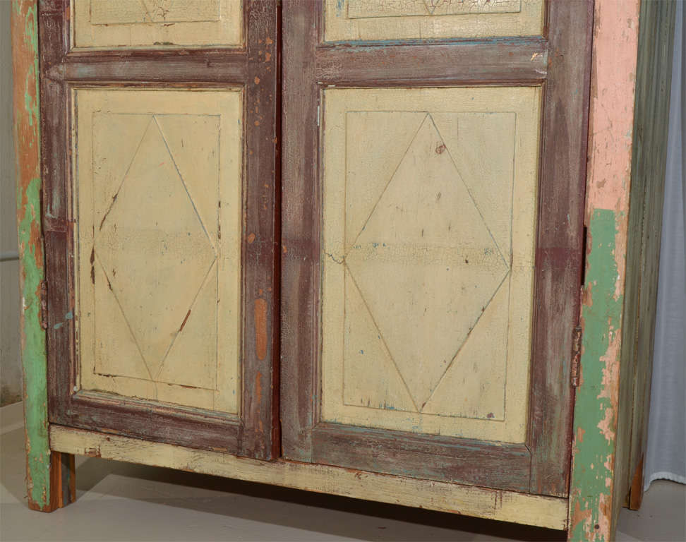 Mexican Painted 2-door Country Cupboard For Sale 4