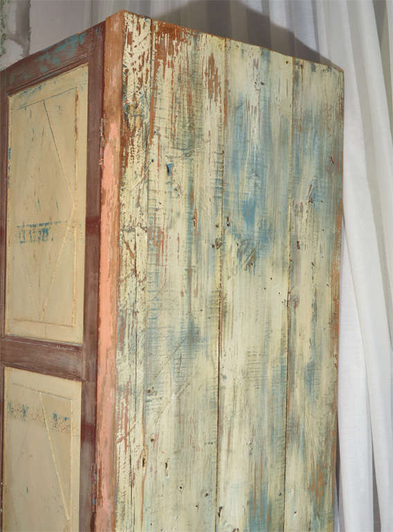 Mexican Painted 2-door Country Cupboard For Sale 6