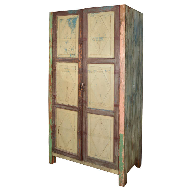 Mexican Painted 2-door Country Cupboard For Sale