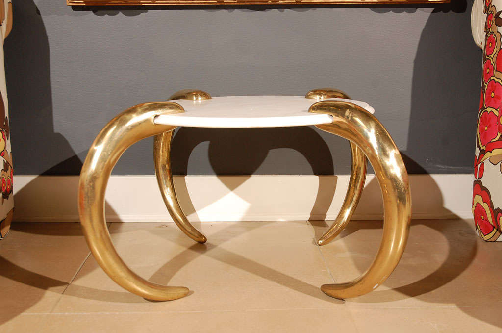 Marble and Brass tusk side table image 2