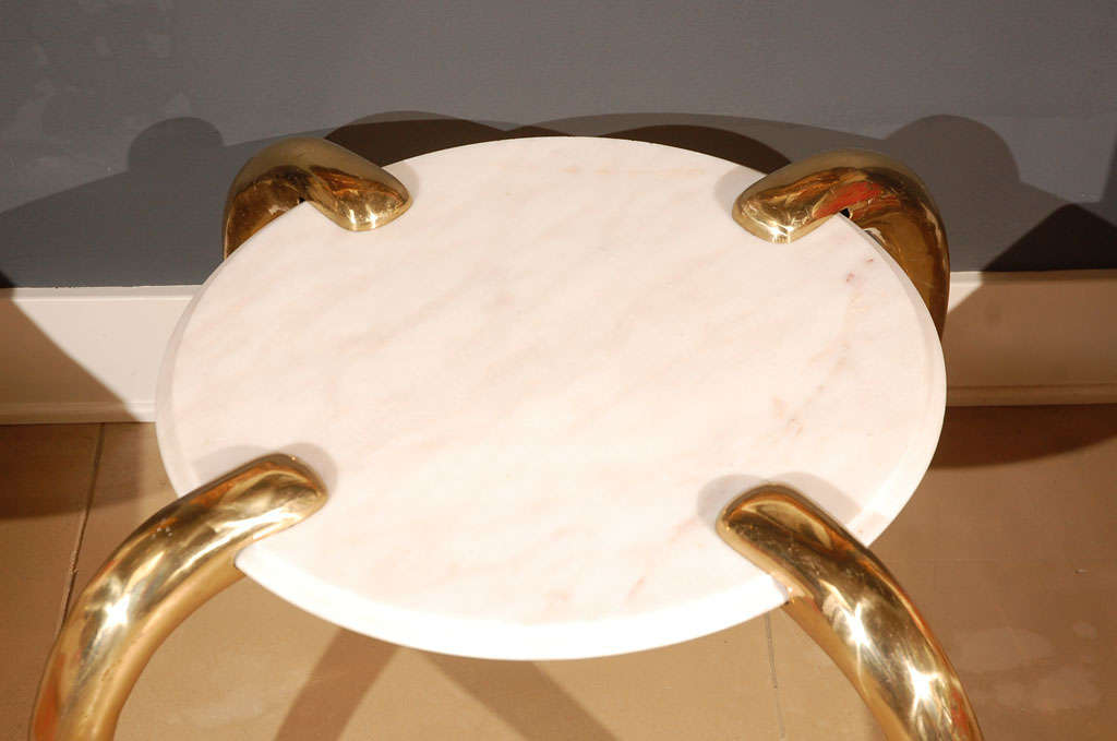 Marble and Brass tusk side table image 6