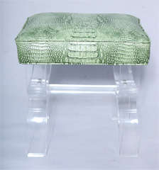 Luctie X-frame Stool with Faux Crocodile Seat thumbnail 2