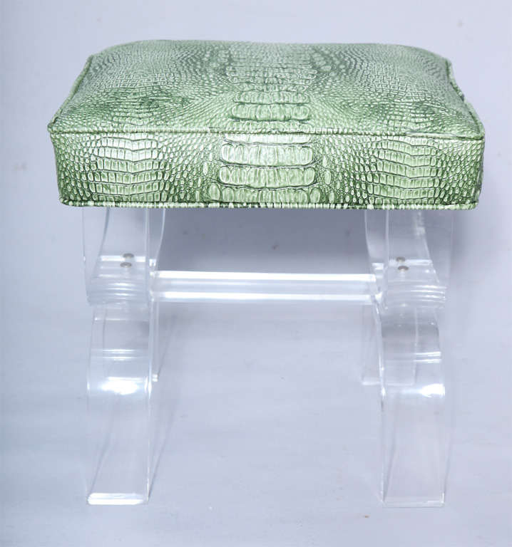 Luctie X-frame Stool with Faux Crocodile Seat image 2