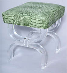 Luctie X-frame Stool with Faux Crocodile Seat thumbnail 3