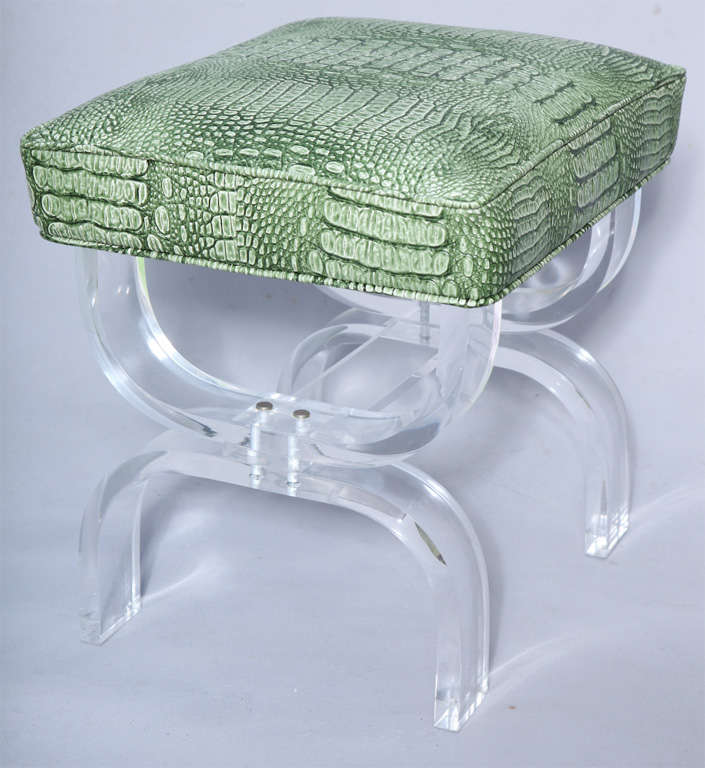 Luctie X-frame Stool with Faux Crocodile Seat image 3