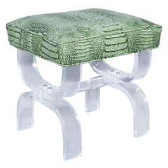Luctie X-frame Stool with Faux Crocodile Seat thumbnail 1