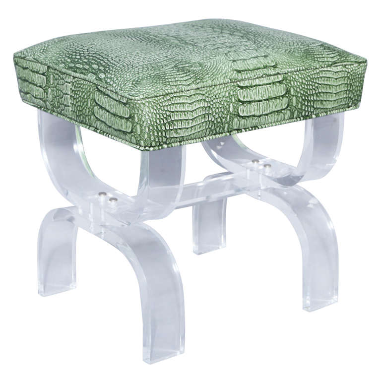 Luctie X-frame Stool with Faux Crocodile Seat