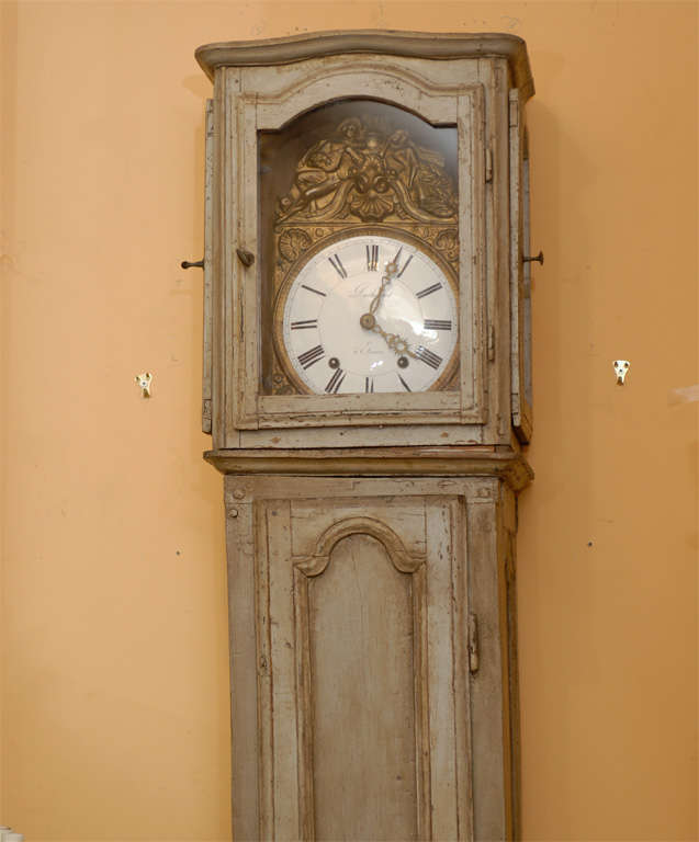 18th 19th Century French Painted Floor Clock For Sale At