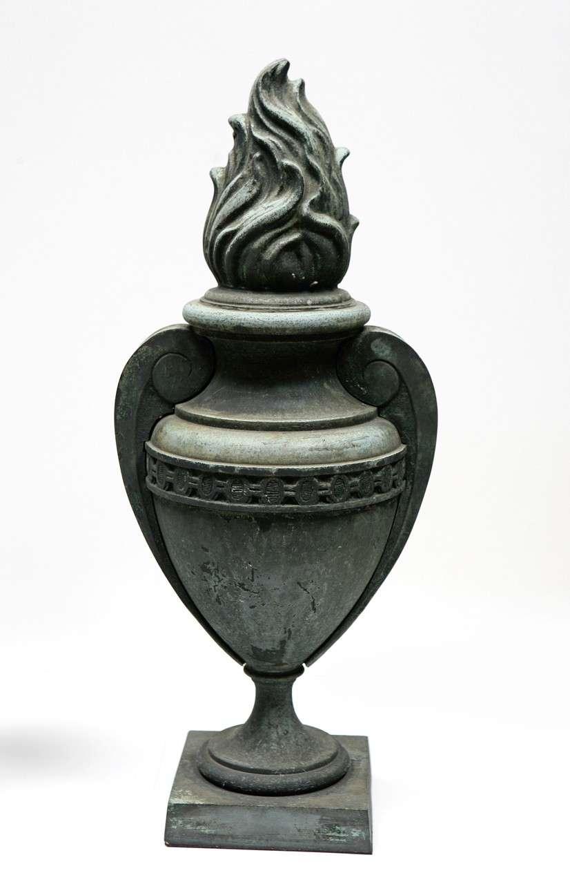 Bronze Flame Urns with Beautiful Patina