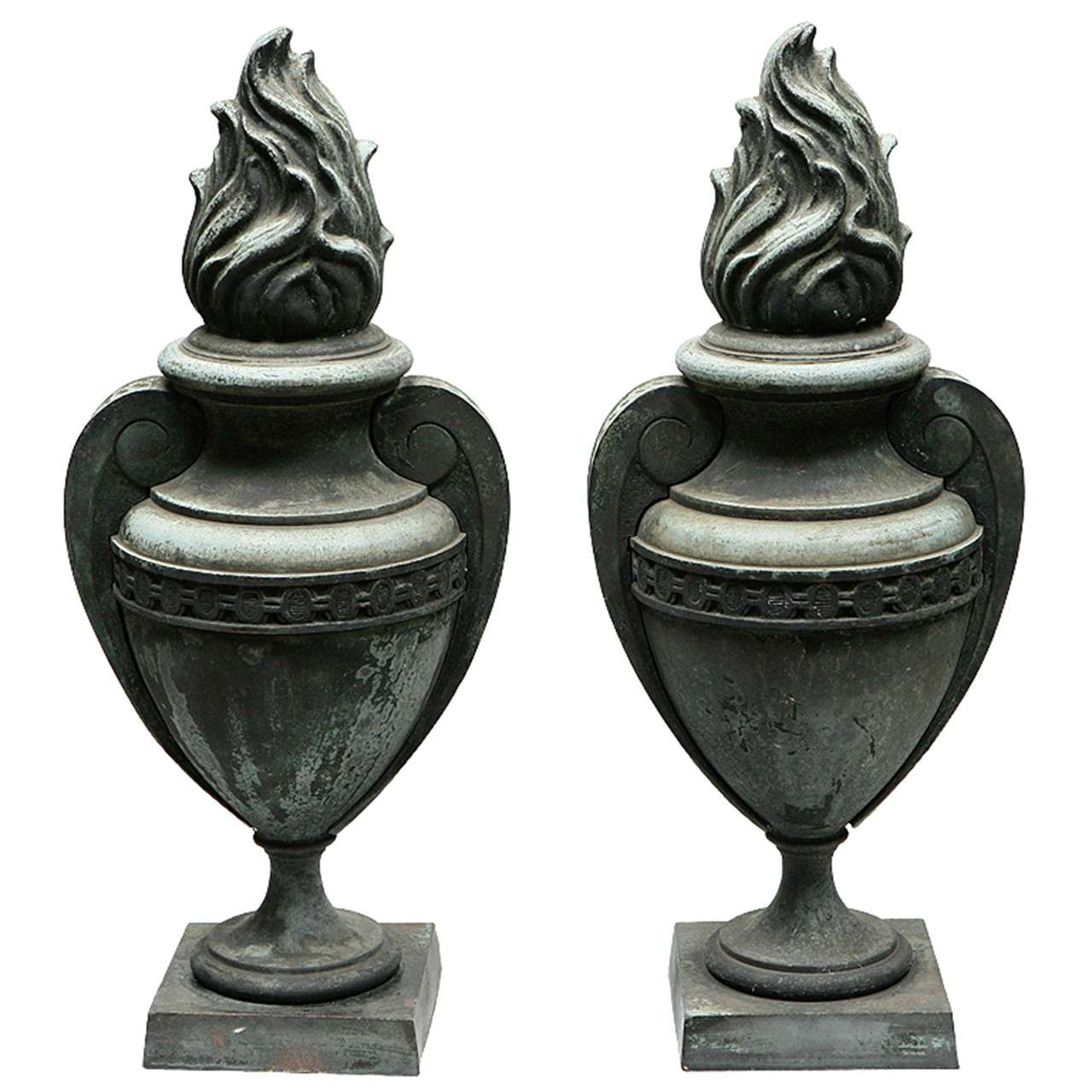 Pair Of French Bronze Urns For Sale