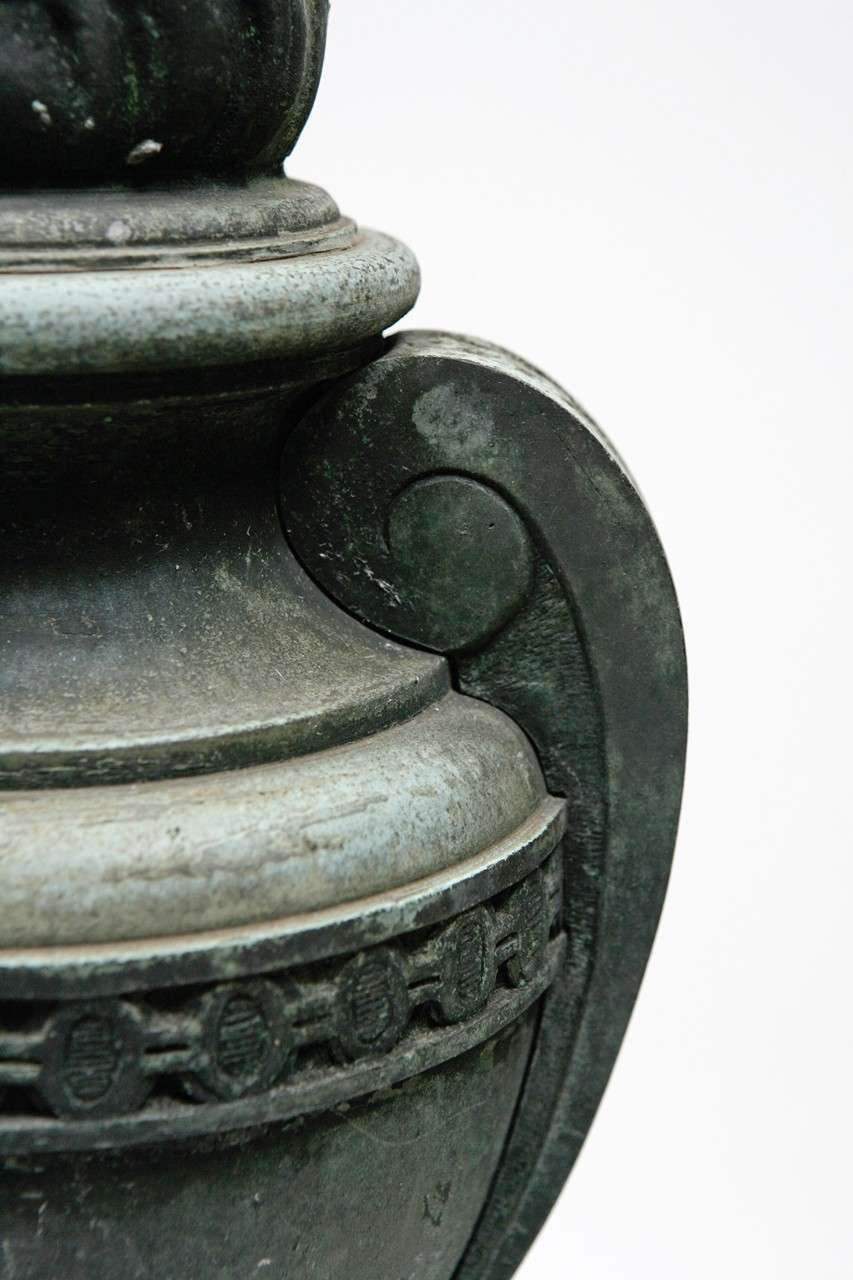 Pair Of French Bronze Urns For Sale 1