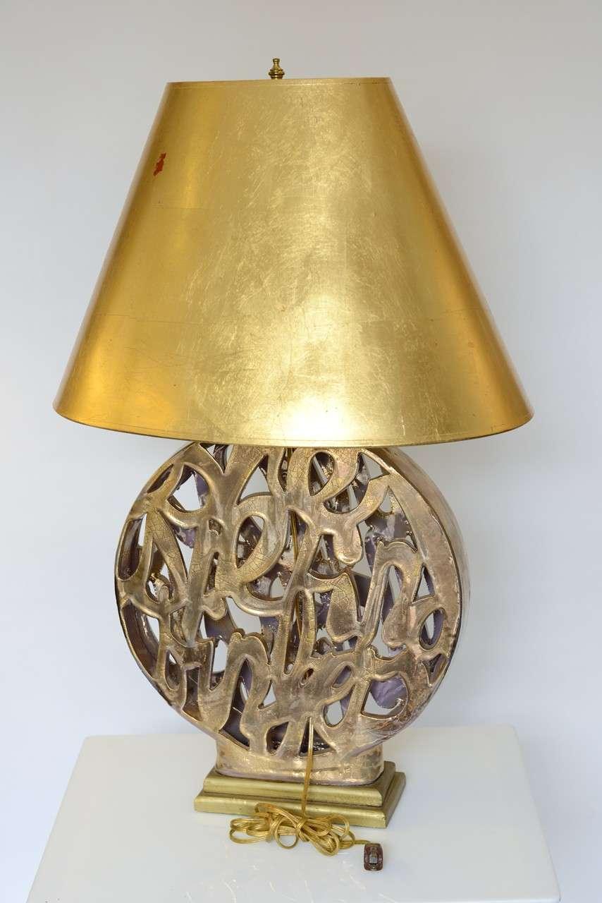 Vintage Gold Ceramic Hollywood Regency Style Lamp For Sale