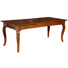 French Walnut Louis XV Style Farm Table with Cabriole Legs and Lateral Drawer