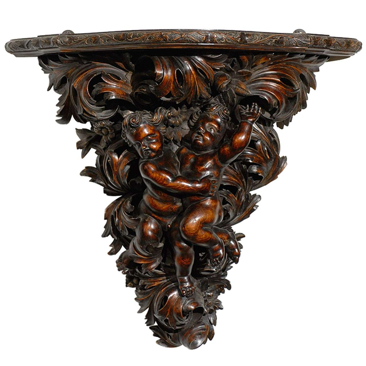French Baroque Style Hand-Carved Walnut Bracket with Putti and Foliage, 1800s