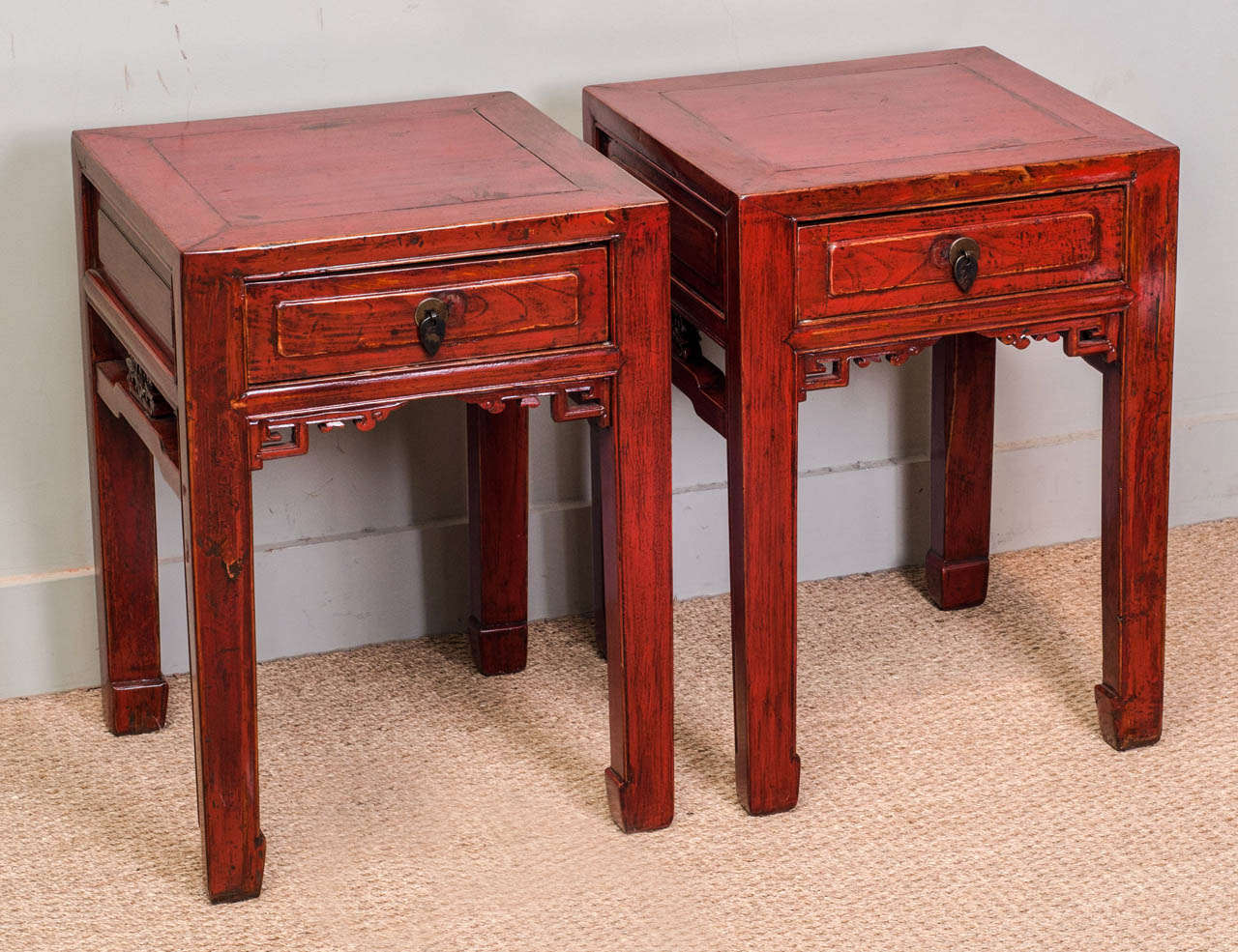 pair of chinese red lacquer end tables circa  at stdibs - pair of chinese red lacquer end tables circa
