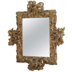 Italianate Relief Carved Giltwood Mirror