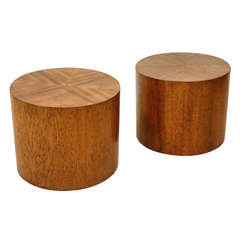Pair of Oak Cylinder Tables by Milo Baughman for Henredon