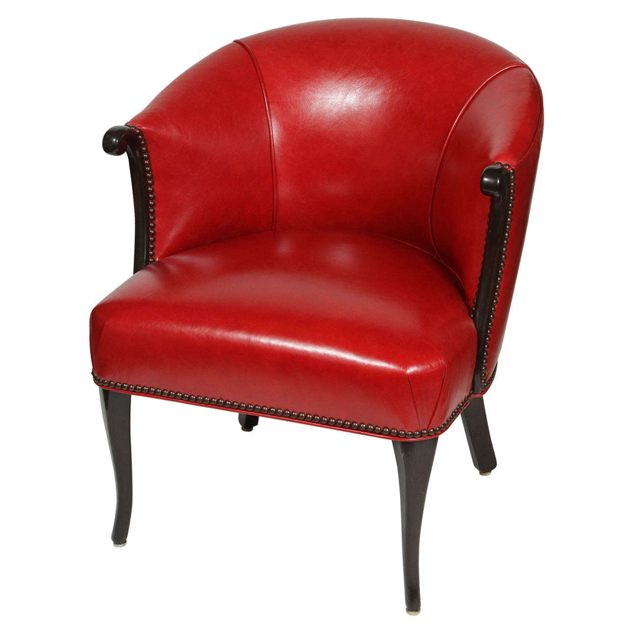 Awesome Red Leather Barrel Chair At 1Stdibs Unemploymentrelief Wooden Chair Designs For Living Room Unemploymentrelieforg