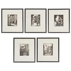 Vintage Woodblock Etchings by Juan Castells Marti