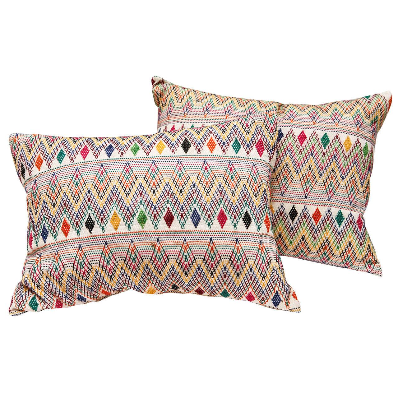 Gujarati Indian Needlework Pillows At 1stdibs