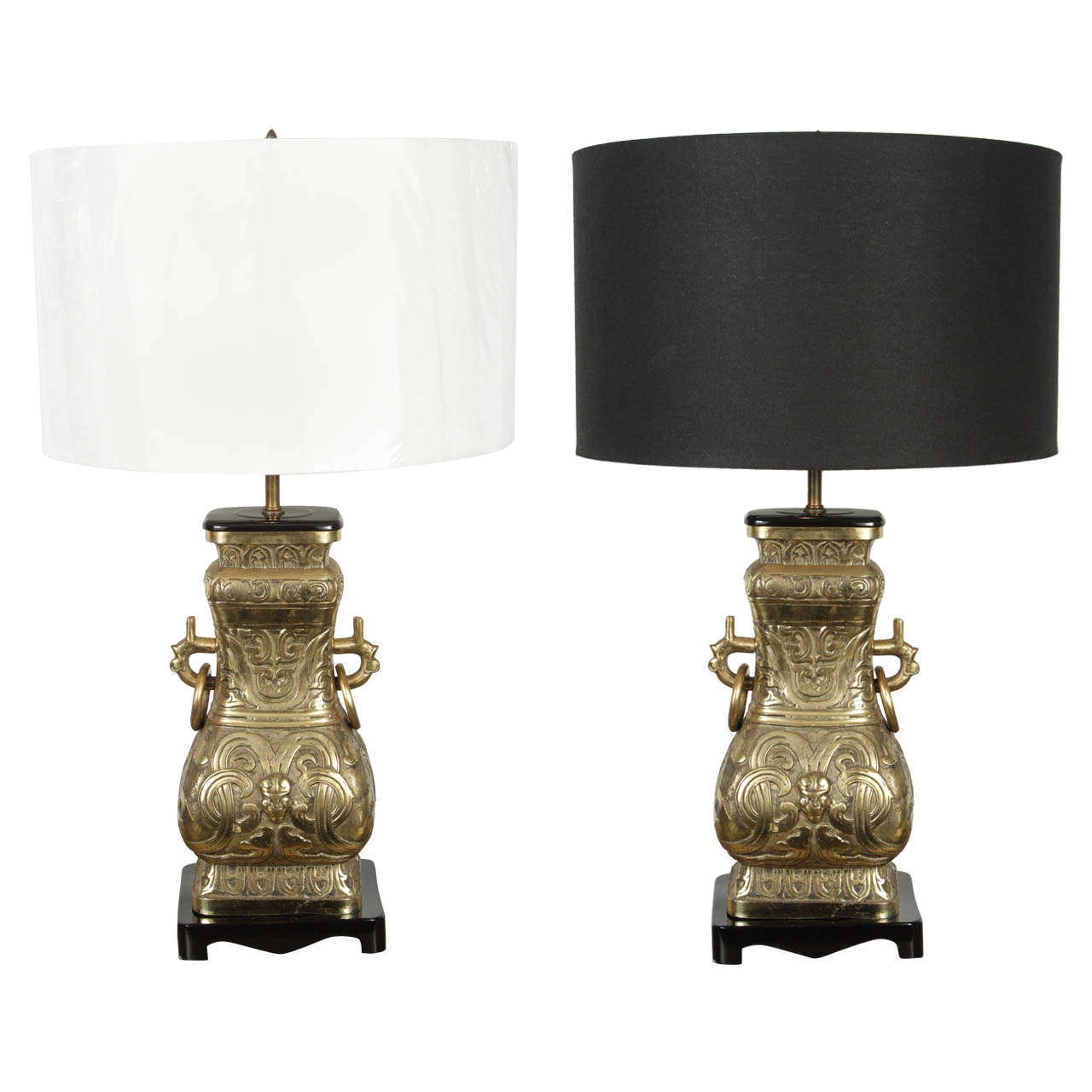 James Mont Style Asian Bronze And Brass Pair Lamps At 1stdibs