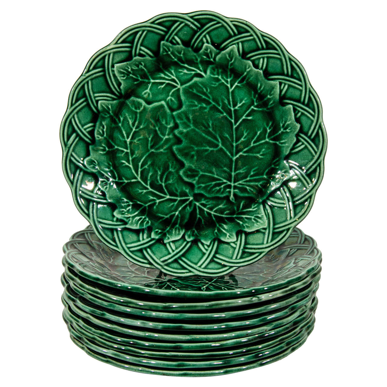 Set Of Ten Antique Green Majolica Dessert Dishes At 1stdibs