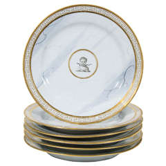 11 BFB Worcester Armorial Dishes with Marbleized Ground and Greek Key Border