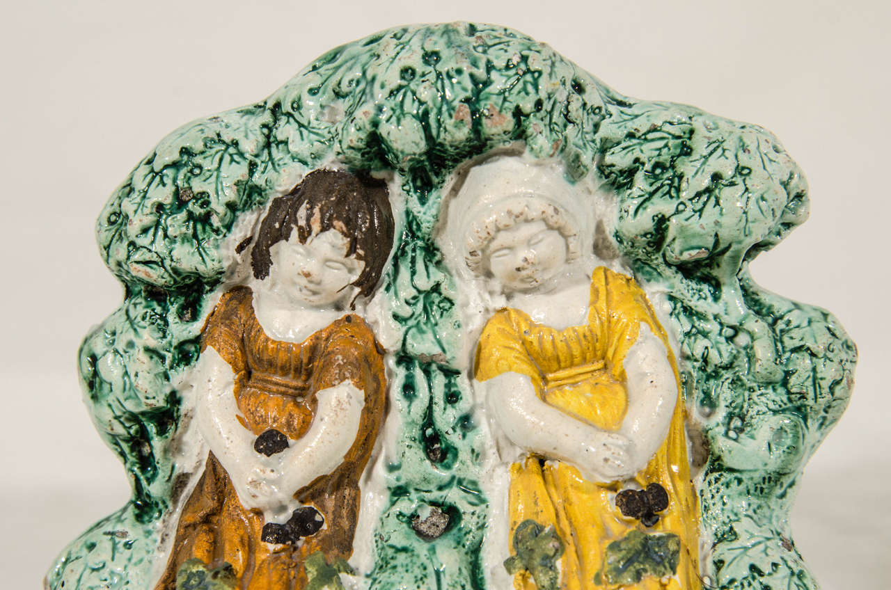 Folk Art Antique Staffordshire Figure Group 'Babes in the Wood' For Sale
