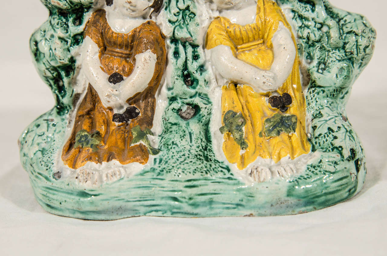 English Antique Staffordshire Figure Group 'Babes in the Wood' For Sale
