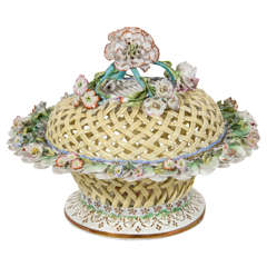 Antique Ridgway Porcelain Basket and Cover