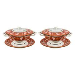 "Pair of Wedgwood Tureens ""Cherry Blossom"" Pattern"