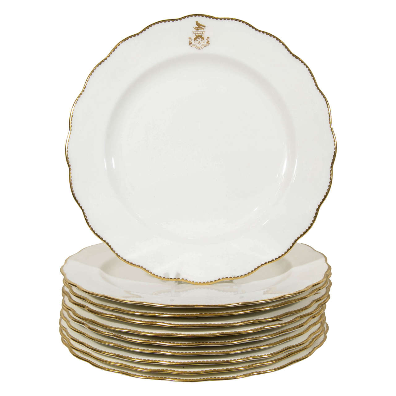 Set of 12 White and Gold Armorial Dinner Dishes with the Motto Toujours Fidele For  sc 1 st  1stDibs & Set of 12 White and Gold Armorial Dinner Dishes with the Motto ...
