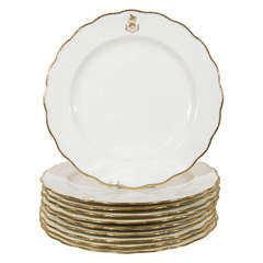 Set of 12 White and Gold Armorial Dinner Dishes with the Motto: Toujours Fidele