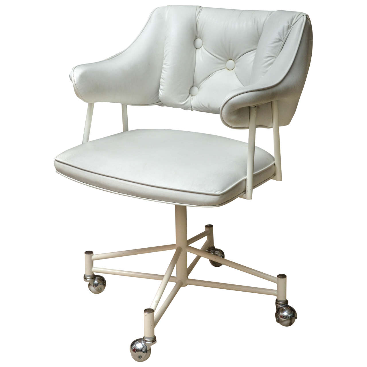 Mid century white leather desk chair on castors at 1stdibs for Desk chair white leather