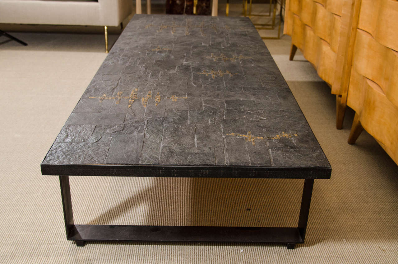 Pia manu blue slate and gold ceramic tile cocktail table for Tile coffee table