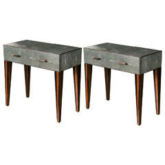Pair of Shagreen Bedside Tables
