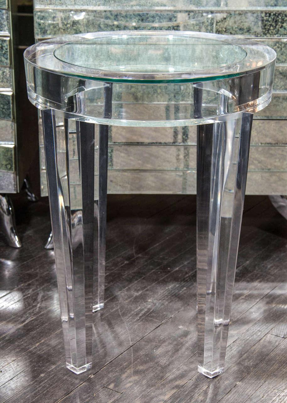 round acrylic side table with inset glass at 1stdibs. Black Bedroom Furniture Sets. Home Design Ideas