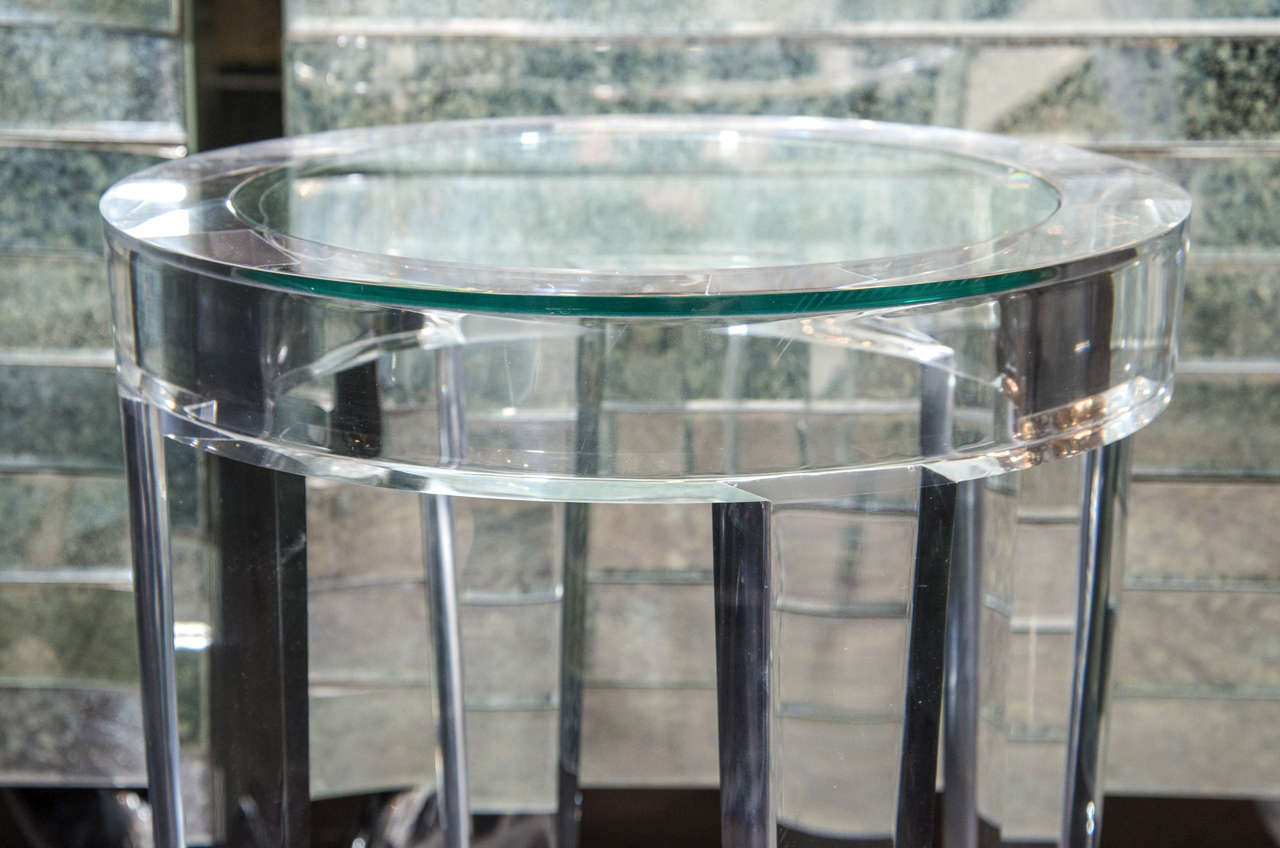 Round Acrylic Side Table With Inset Glass At 1stdibs