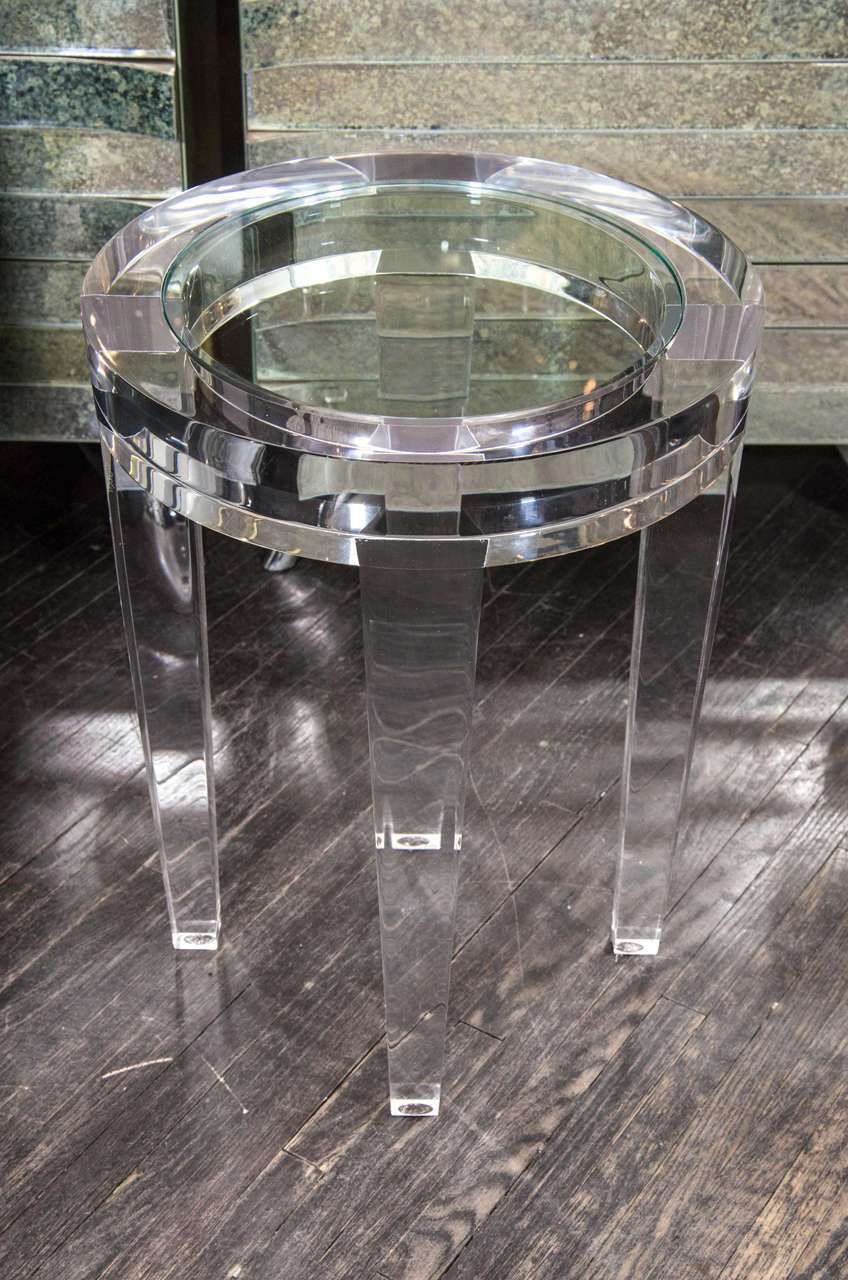 Round Acrylic Side Table With Inset Gl At 1stdibs